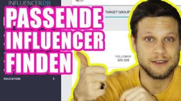 """linker Text """"Passende Influencer Finden"""" rechts Mann mit gelben Pullover"""